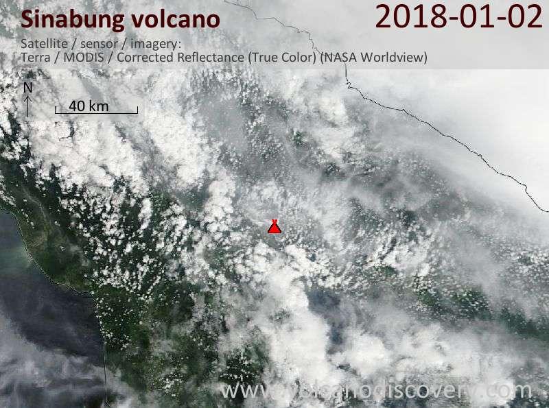 Satellite image of Sinabung volcano on  2 Jan 2018