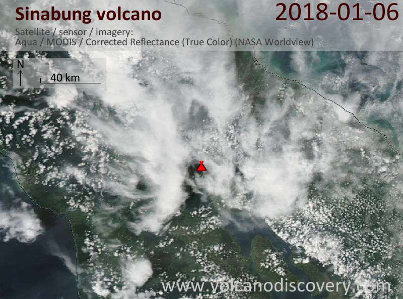 Satellite image of Sinabung volcano on  6 Jan 2018