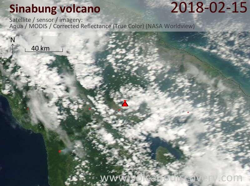 Satellite image of Sinabung volcano on 15 Feb 2018
