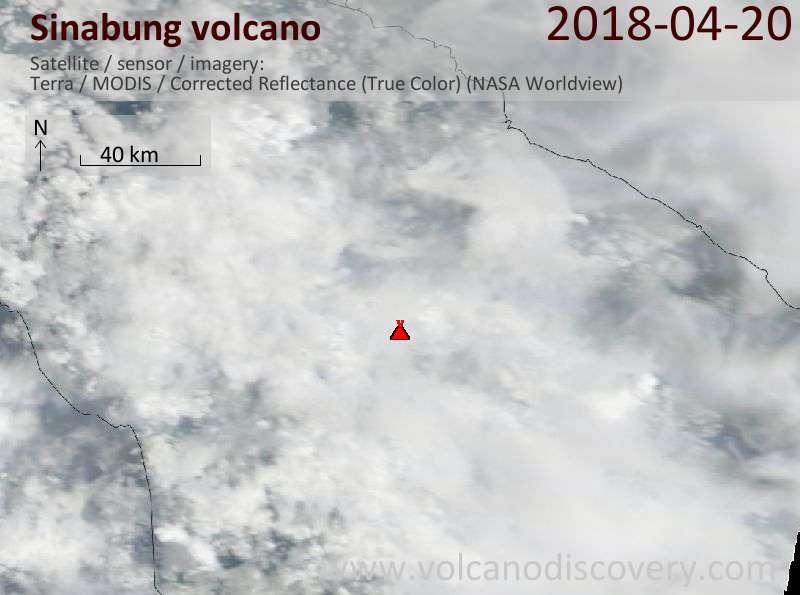 Satellite image of Sinabung volcano on 21 Apr 2018