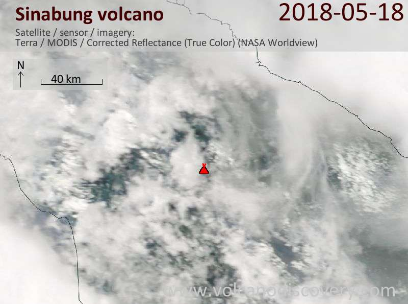 Satellite image of Sinabung volcano on 18 May 2018