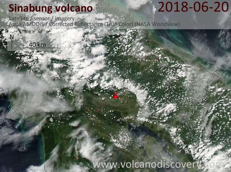 Satellite image of Sinabung volcano on 20 Jun 2018