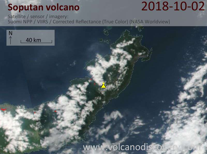 Satellite image of Soputan volcano on  3 Oct 2018