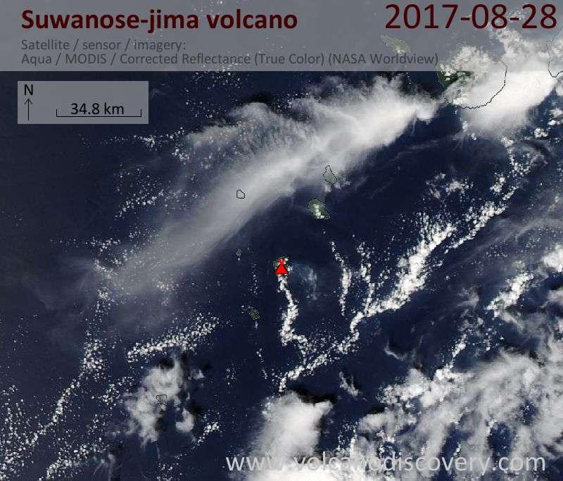 Satellite image of Suwanose-jima volcano on 28 Aug 2017