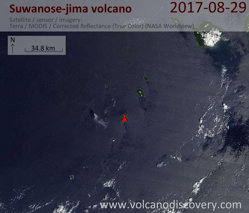 Satellite image of Suwanose-jima volcano on 29 Aug 2017