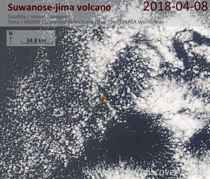 Satellite image of Suwanose-jima volcano on  8 Apr 2018
