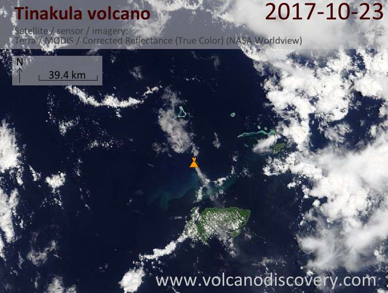 Satellite image of Tinakula volcano on 23 Oct 2017