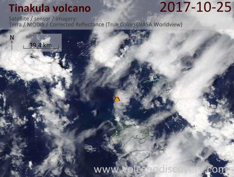 Satellite image of Tinakula volcano on 25 Oct 2017