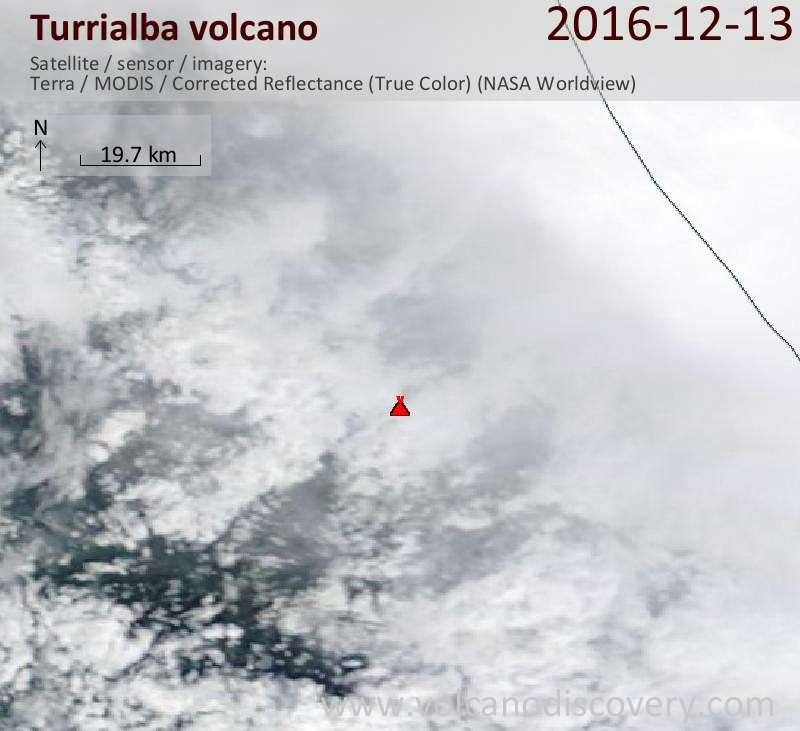 Satellite image of Turrialba volcano on 13 Dec 2016