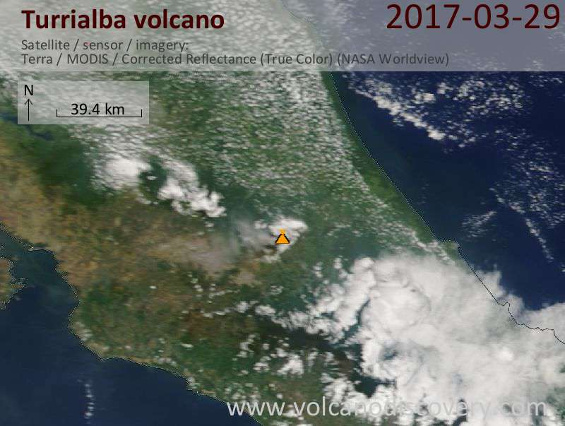 Satellite image of Turrialba volcano on 29 Mar 2017