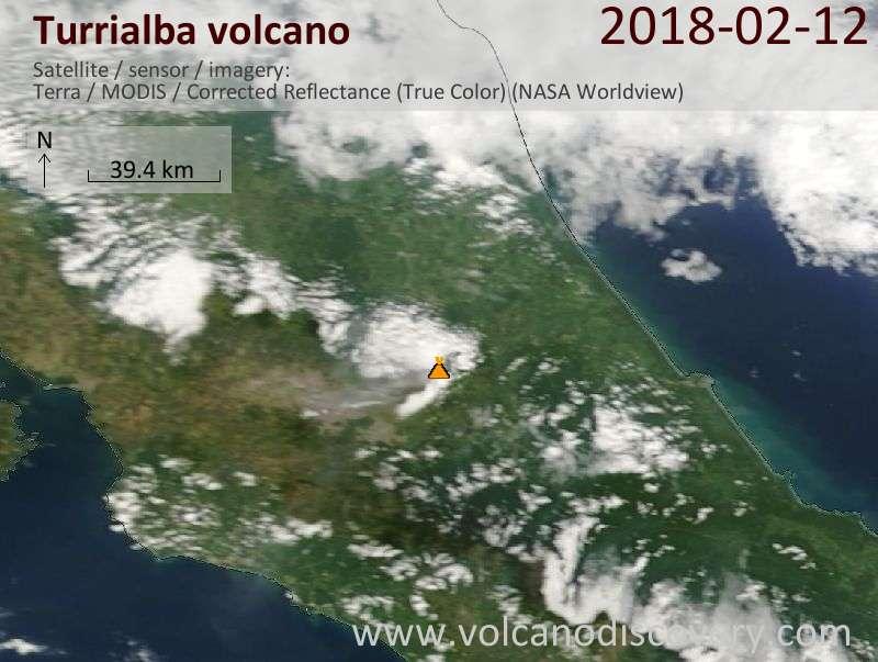 Satellite image of Turrialba volcano on 12 Feb 2018