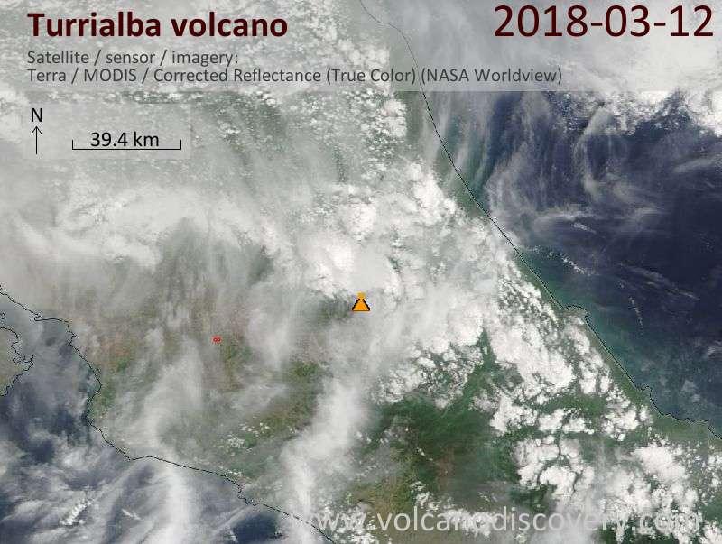 Satellite image of Turrialba volcano on 12 Mar 2018