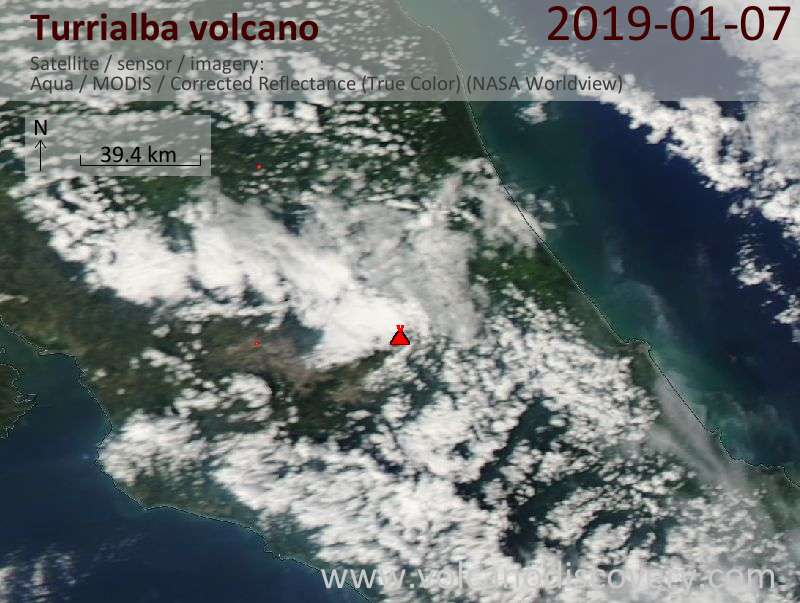 Satellite image of Turrialba volcano on  8 Jan 2019