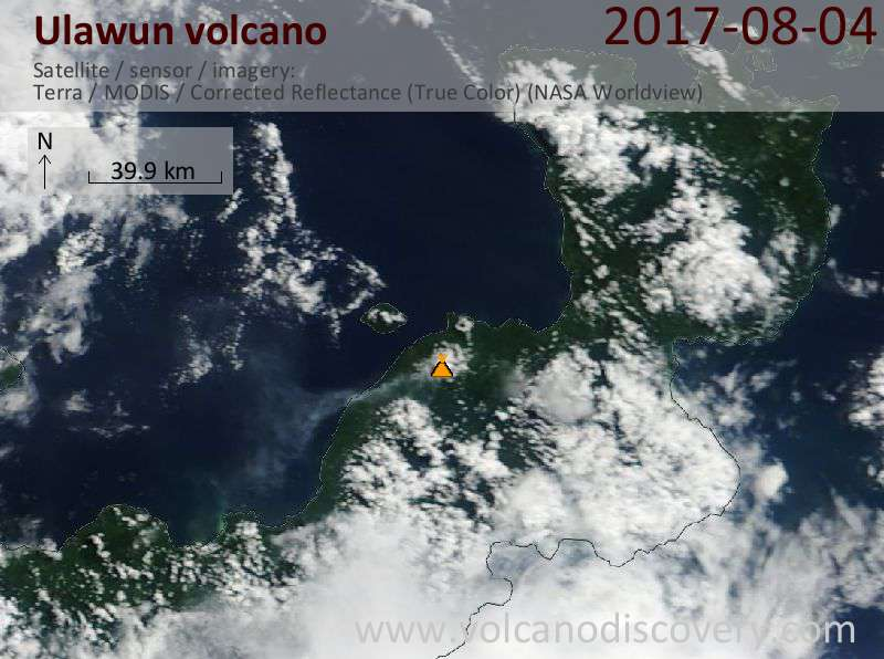 Satellite image of Ulawun volcano on  7 Aug 2017