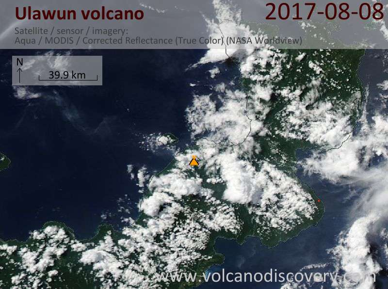 Satellite image of Ulawun volcano on  8 Aug 2017