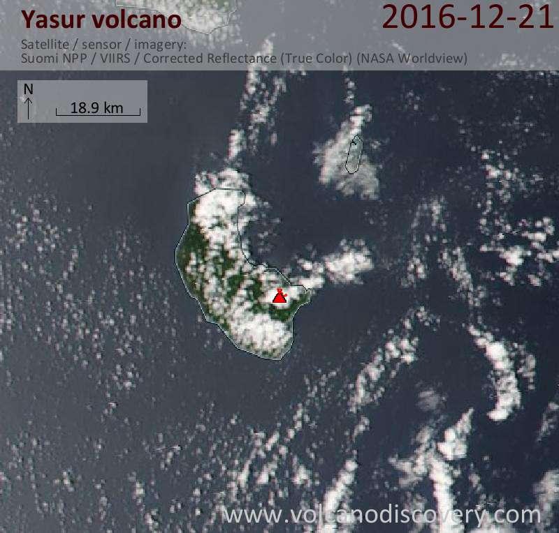 Satellite image of Yasur volcano on 21 Dec 2016