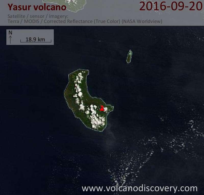 Satellite image of Yasur volcano on 20 Sep 2016