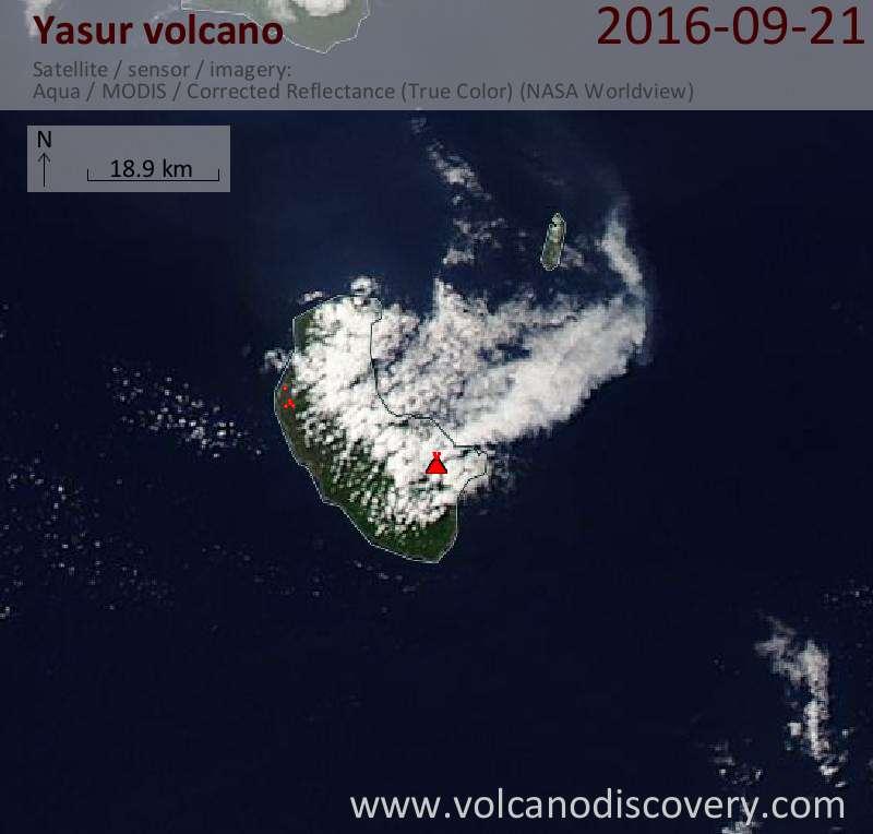 Satellite image of Yasur volcano on 21 Sep 2016