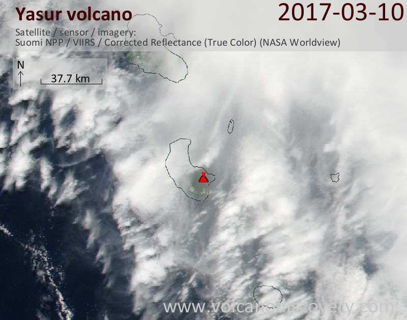 Satellite image of Yasur volcano on 10 Mar 2017