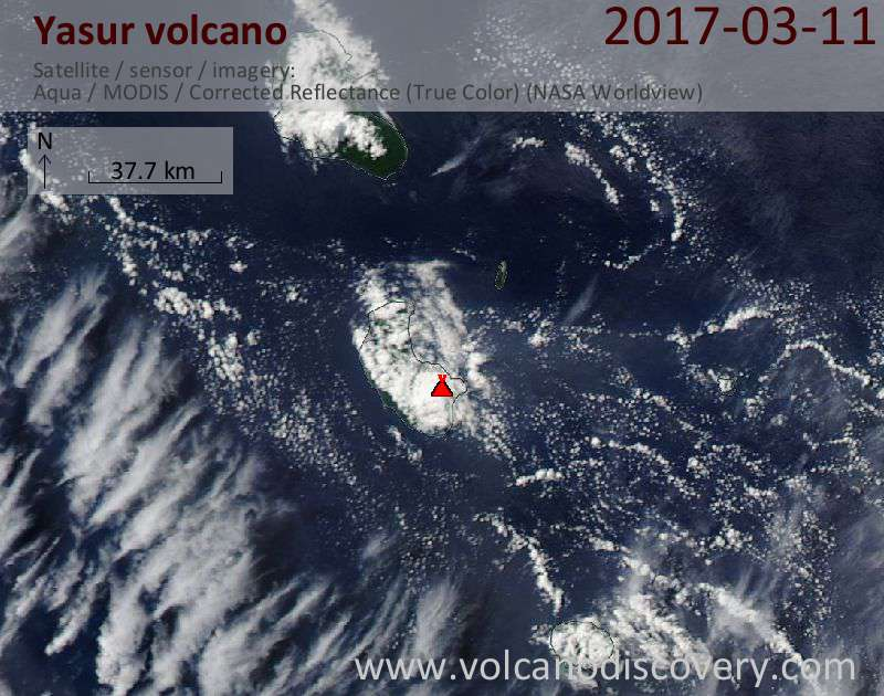 Satellite image of Yasur volcano on 11 Mar 2017