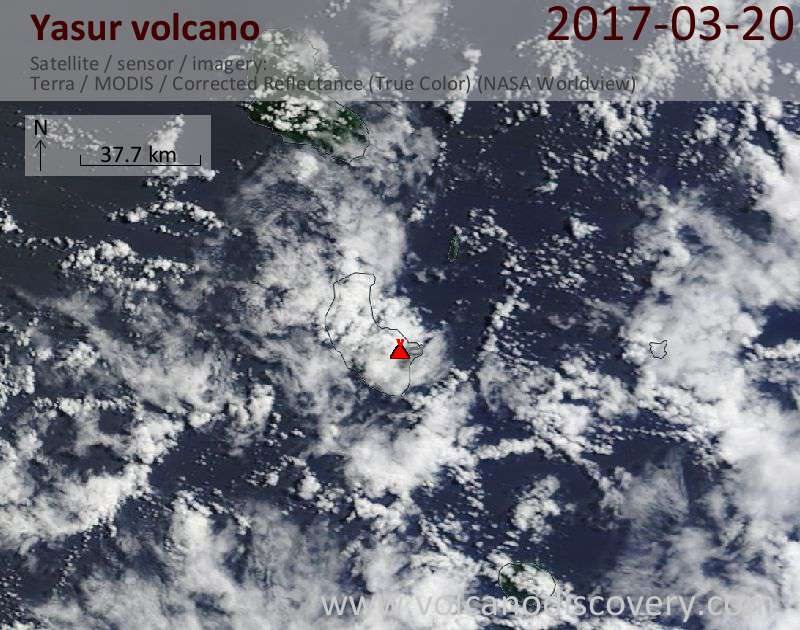 Satellite image of Yasur volcano on 20 Mar 2017