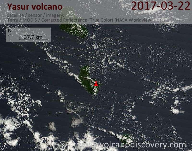 Satellite image of Yasur volcano on 22 Mar 2017