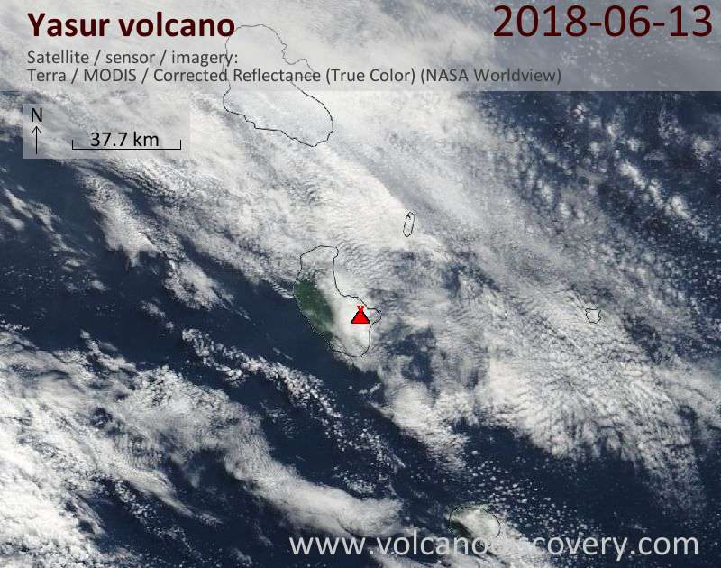 Satellite image of Yasur volcano on 13 Jun 2018