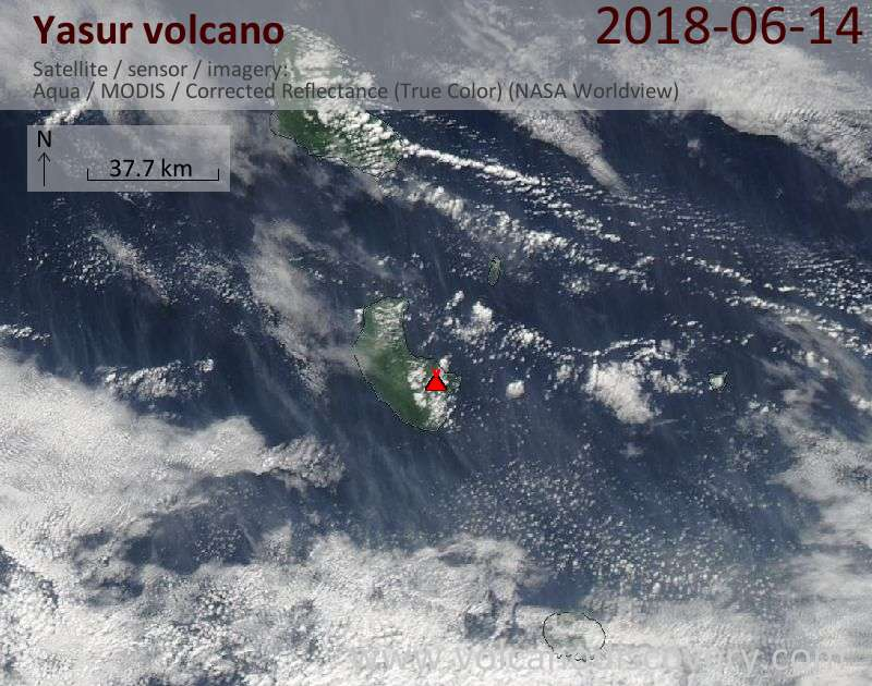 Satellite image of Yasur volcano on 14 Jun 2018