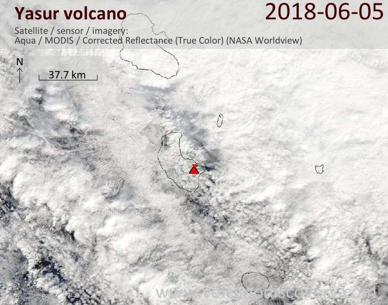 Satellite image of Yasur volcano on  5 Jun 2018