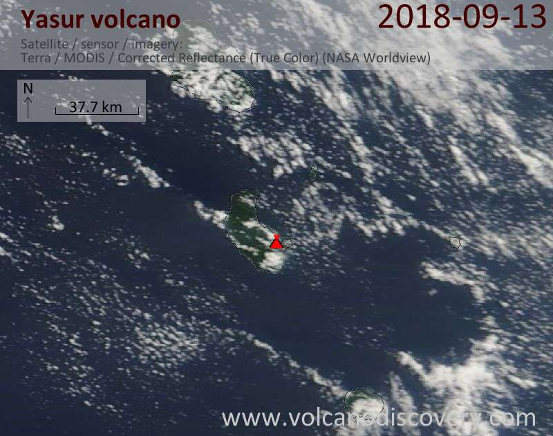 Satellite image of Yasur volcano on 13 Sep 2018