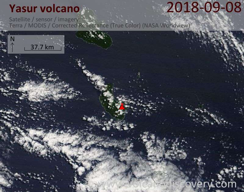 Satellite image of Yasur volcano on  8 Sep 2018