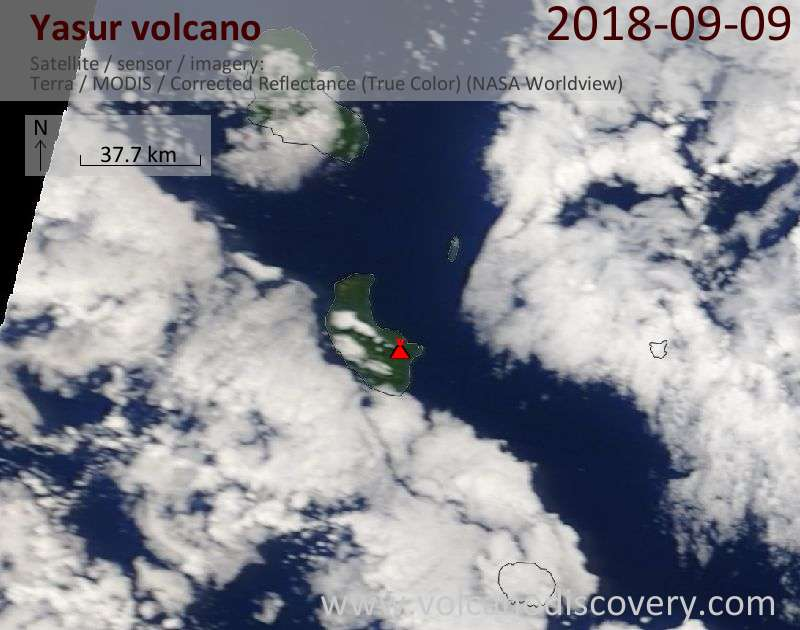 Satellite image of Yasur volcano on  9 Sep 2018