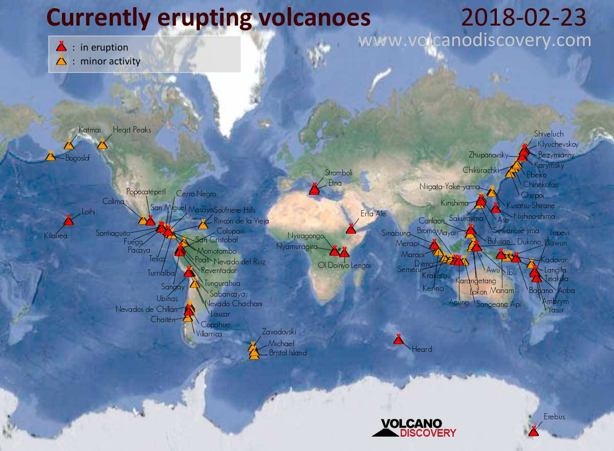 map of today s active volcanoes