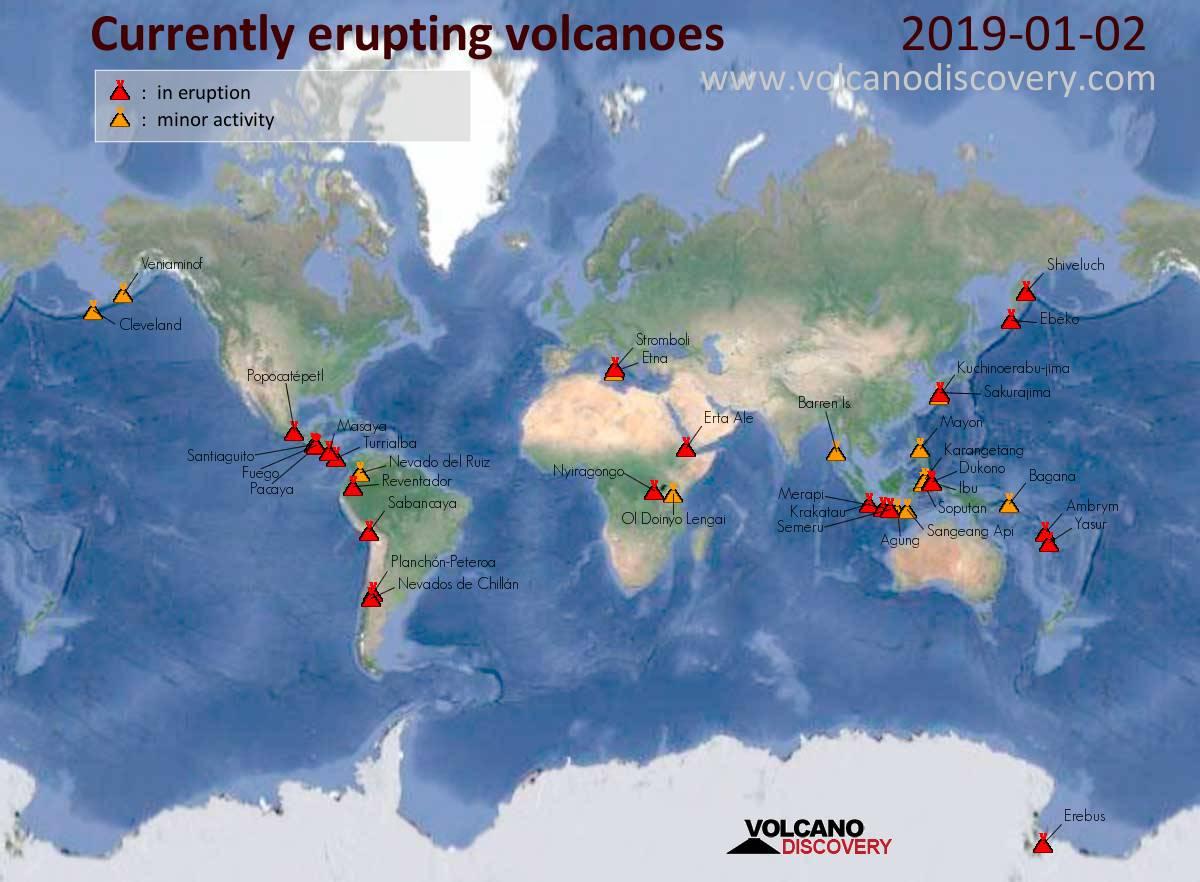 Volcanic Activity Worldwide 2 Jan 2019 Etna Volcano Stromboli