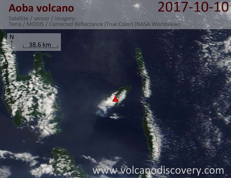 Satellite image of Aoba volcano on 10 Oct 2017