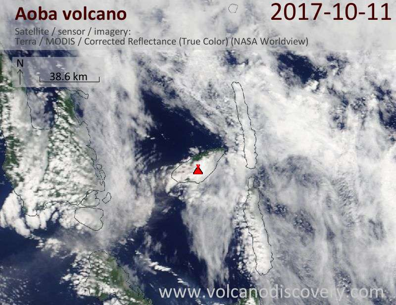 Satellite image of Aoba volcano on 11 Oct 2017