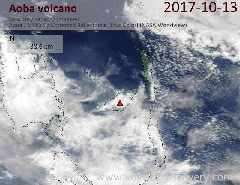 Satellite image of Aoba volcano on 13 Oct 2017