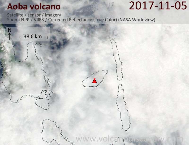 Satellite image of Aoba volcano on  5 Nov 2017