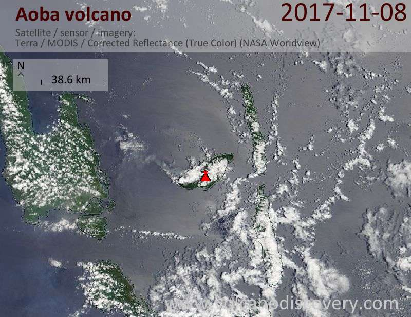 Satellite image of Aoba volcano on  8 Nov 2017