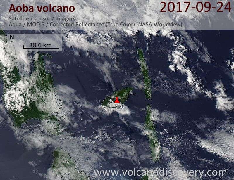 Satellite image of Aoba volcano on 24 Sep 2017