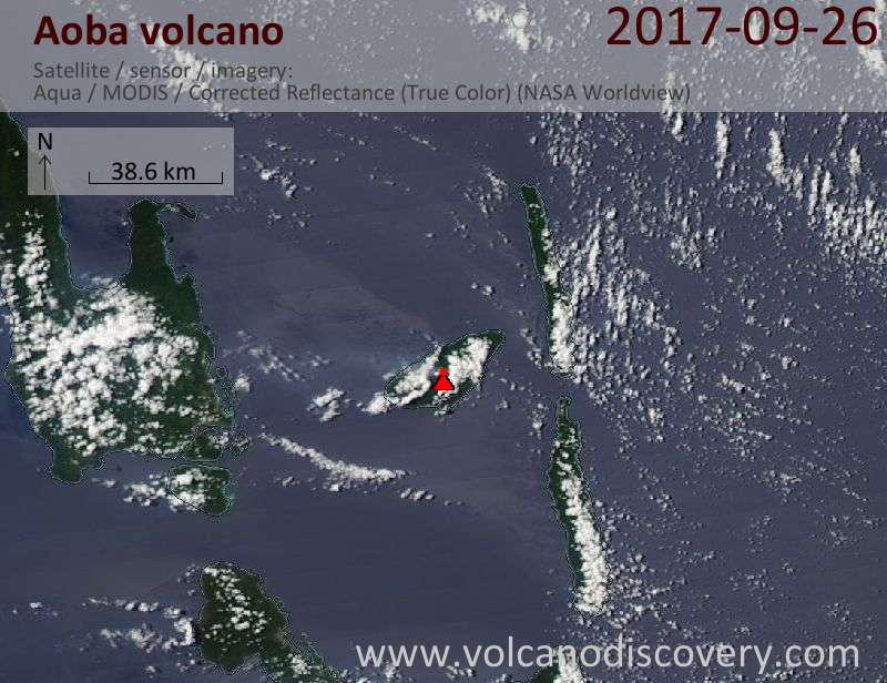 Satellite image of Aoba volcano on 26 Sep 2017