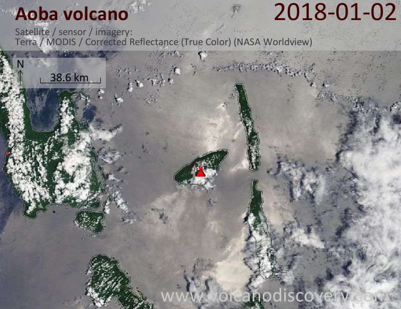 Satellite image of Aoba volcano on  2 Jan 2018
