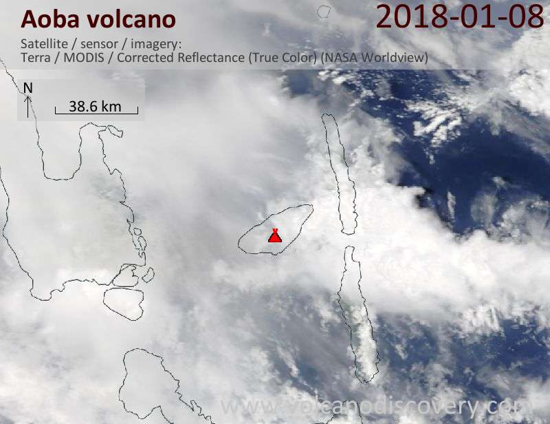 Satellite image of Aoba volcano on  8 Jan 2018