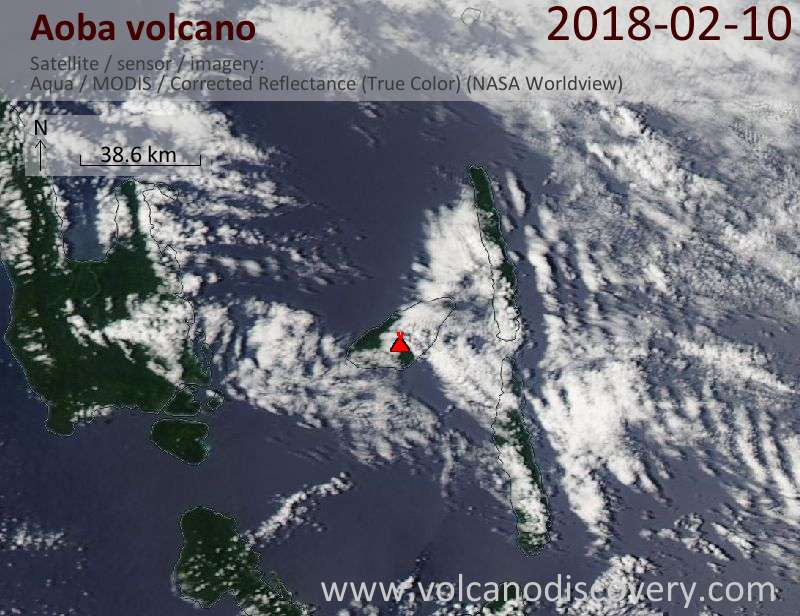 Satellite image of Aoba volcano on 10 Feb 2018