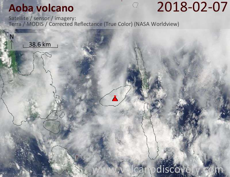 Satellite image of Aoba volcano on  7 Feb 2018