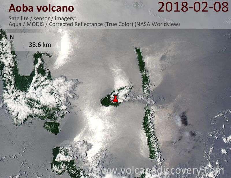Satellite image of Aoba volcano on  8 Feb 2018