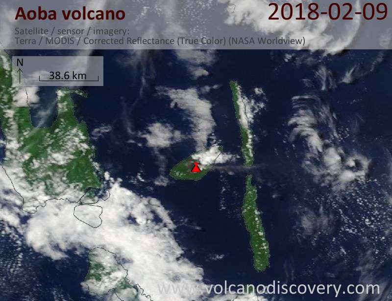 Satellite image of Aoba volcano on  9 Feb 2018