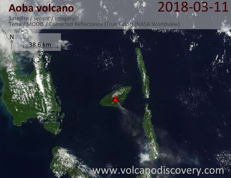 Satellite image of Aoba volcano on 11 Mar 2018