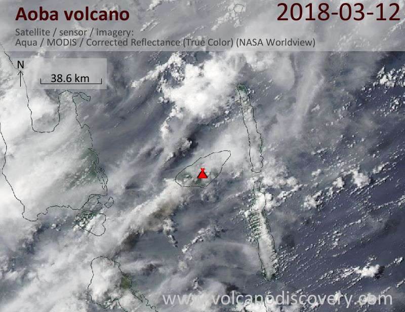 Satellite image of Aoba volcano on 12 Mar 2018