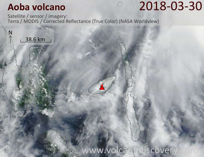 Satellite image of Aoba volcano on 30 Mar 2018